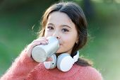 Music Always With Me. Girl Cute Child With Headphones. Reasons You Should Use Headphones. Headphones poster