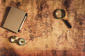 Navigation Explore Journey Planning With Compass Magnifying Glass And Notebook Layout On World Map B poster