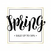 Spring Sale Advertising Banner Concept. Minimalistic Luxury Style. Golden Frame. Spring Hand Scetche poster