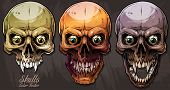 Detailed Graphic Realistic Cool Colorful Human Skulls With Sharp Canines And Crazy Eyes. On Gray Gru poster