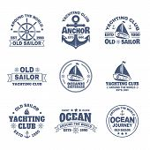 Set Of Isolated Yacht And Anchor, Ship S Wheel Icons. Logo With Boats Or Vessels For Ocean Journey.  poster