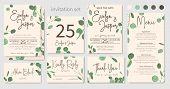 Set Of Wedding Invitations, Floral Invitations, Table, Menu, Thank You, Rsvp Card Design. Eucalyptus poster