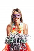 Brazilian Carnival. Young Woman In Costume Enjoying The Carnival Party poster
