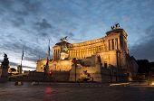 Vittorio Emanuele Ii Monument Aka Altare Della Patria As Night Falls In Rome poster