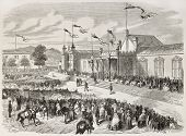 Prince Napoleon rewarding exhibitors at Limoges exposition. Created by Worms, published on L'Illustration, Journal Universel, Paris, 1858