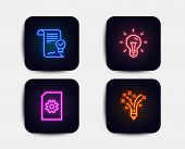 Neon Glow Lights. Set Of Idea, Approved Agreement And File Management Icons. Inspiration Sign. Light poster