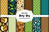 Cute Set Of Childish Seamless Patterns With Dinosaurs Ideal For Fabrics, Wallpaper And Different Sur poster