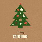 Christmas Vintage Card With Christmas Tree, Vector Illustration