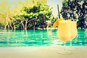 Mango Juice With Beautiful Outdoor Swimming Pool In Hotel Resort - Vintage Filter And Sunflare Proce poster