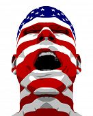 USA Flag Textured Man Yelling