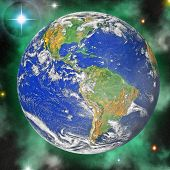 Earth blue planet in space to background