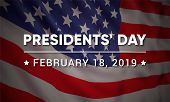 Vector Banner Design Template For Presidents Day With Realistic American Flag And Text. poster