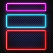 Neon Light Banners Set. Vector Neon Light Frame Sign. Realistic Glowing Neon Frames Isolated On Tran poster