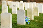 Headstones in autumn in Arlington National Cemetery - Washington DC United States
