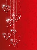 Vector illustration of hanging shiny heart shapes with floral element and stars on red seamless hear