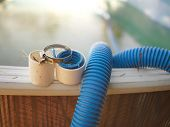 Swimming Pool Hose Needs Repair And Hose Clamp, Outdoor Close-up poster