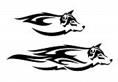 Running Wolf Head Profile Design - Black And White Tribal Style Spirit Animal Vector poster
