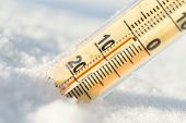 Thermometer On Snow Shows Low Temperatures In Celsius. poster