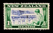 NEW ZEALAND - CIRCA 1948: A stamp printed in New Zealand shows a boy sitting on a window sill with a background view of children at play at Roxburgh Health Camp, circa 1948