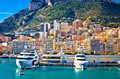 Monte Carlo Yachting Harbor And Colorful Waterfront View, Principality Of Monaco poster