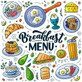 Breakfast Menu Design Elements. Vector Doodle Style Illustration. Hand Drawn Calligraphy Lettering A poster