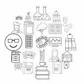 Research Icons Set. Outline Set Of 25 Research Icons For Web Isolated On White Background poster