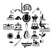 Summertime Icons Set. Simple Set Of 25 Summertime Icons For Web Isolated On White Background poster