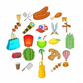 Touristic Space Icons Set. Cartoon Set Of 25 Touristic Space Icons For Web Isolated On White Backgro poster