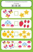 Math Educational Game For Children. Complete The Mathematical Equation. Choose More, Less Or Equal poster