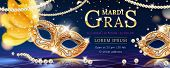 Masquerade Mask With Feather For Mardi Gras Carnival Banner. Venice Event Invite Background With Bea poster