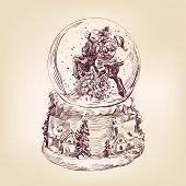 christmas snow globe hand drawn