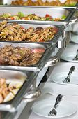 pic of catering service  - metallic banquet meal trays served on tables - JPG
