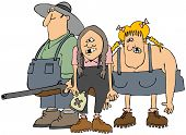 picture of redneck  - This illustration depicts a hillbilly man and two women - JPG