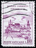 Postage stamp Vatican 1973 View of Torun, Nicolaus Copernicus