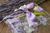 wedding favor with lavender flowers