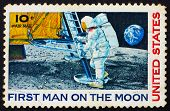 Postage stamp USA 1969 Man's 1st landing on the moon, Apollo 11