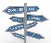 picture of query  - 3d road sign of various words related to confusion during making decision - JPG