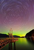 Aurora Borealis And Startrails At Porteau Cove Provincial Park