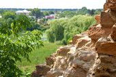 picture of carmelite  - Ruins of old brick wall in Monastery - Fortress of Carmelites Berdychiv Zhytomyr Region Ukraine. focus on wall ** Note: Shallow depth of field - JPG