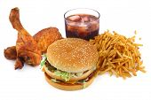 pic of junk food  - fast food collection on on white background - JPG