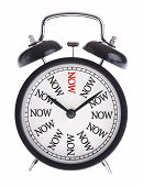 Alarm Clock With The Word Now