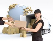 Female Messenger delivering a parcel in an international transport context