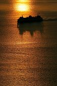 Silhouetted Ship