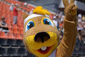 DONETSK, UKRAINE - JULY 13: The gopher named Ostap is the mascot of World Youth Championships in Don