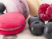 macaroons with berry fruits