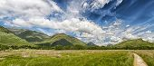 stock photo of bute  - A Panoramic image of the beautiful Scottish countryside in the Argyll and Bute region of the country near to the banks of Loch Awe - JPG
