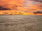El Mirage dry lake with sunset sky in California's Mojave Desert.