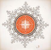 Nautical design. Baroque ornaments
