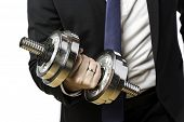 Businessman With Silver Dumbbell