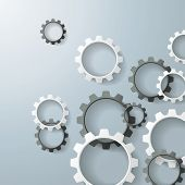 stock photo of structural engineering  - Black and white gears on the grey background - JPG